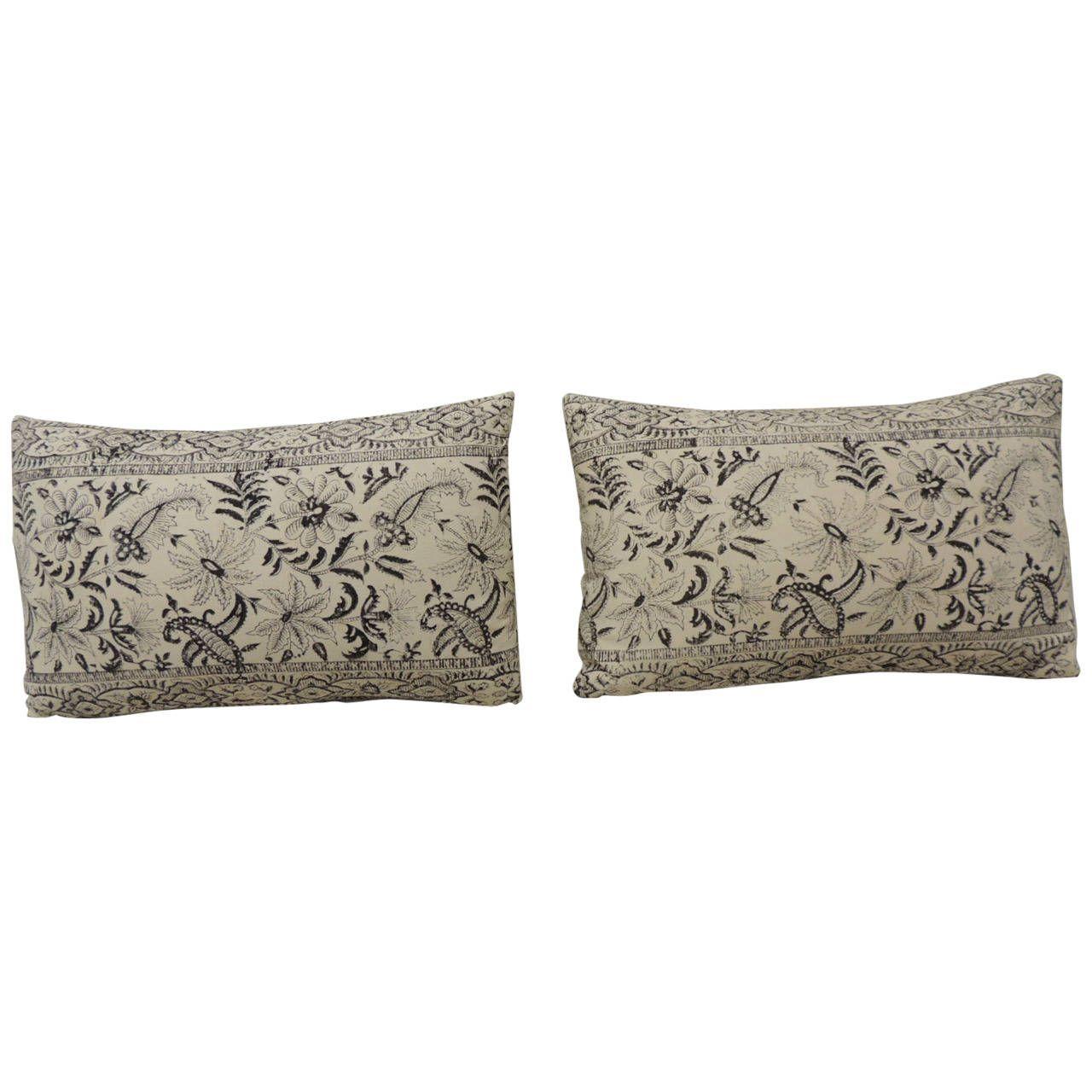 Pair of Indian Batik Lumbar Pillows