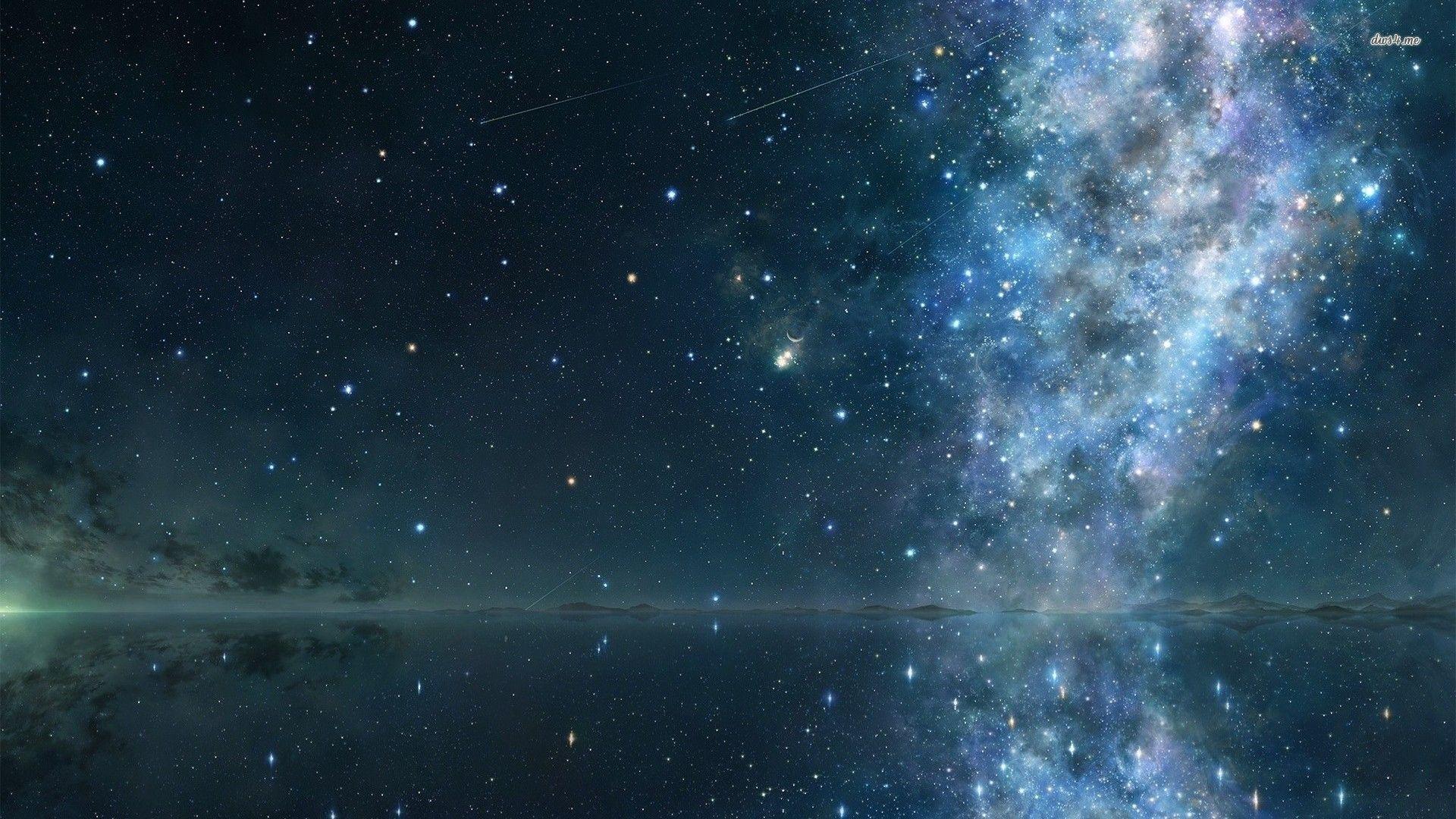 Lake Reflecting The Starry Sky Wallpaper Free Night Sky