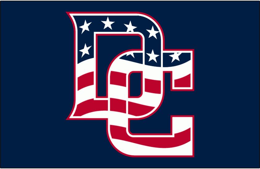 46c685632dd Washington Nationals Cap Logo (2009) - Interlocking DC with stars and  stripes US flag pattern on blue