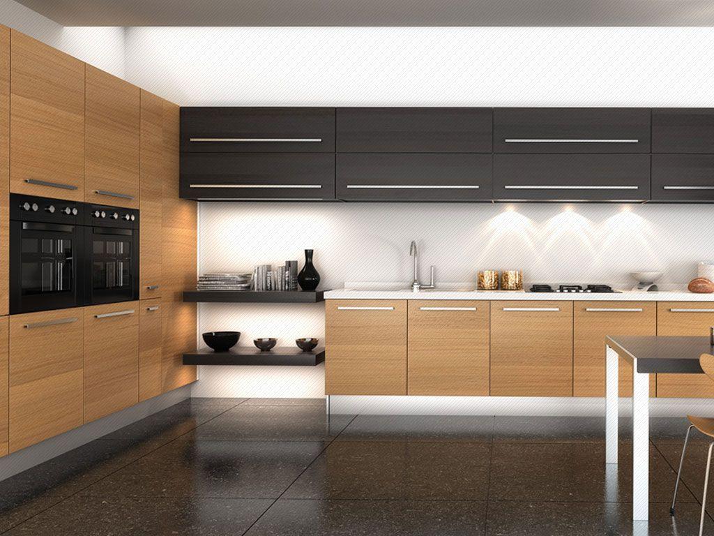 Mueble lateral y bajo enchapados en formica color asian for Muebles modernos para cocina comedor