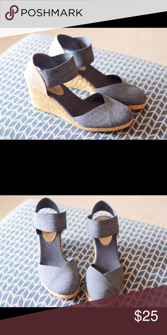 CHAPS chambray wedge shoes never worn! Beautiful comfy chambray wedges that have legitimately never been worn, I hate heels and these were a gift so they are brand new without tags. Chaps Shoes Espadrilles