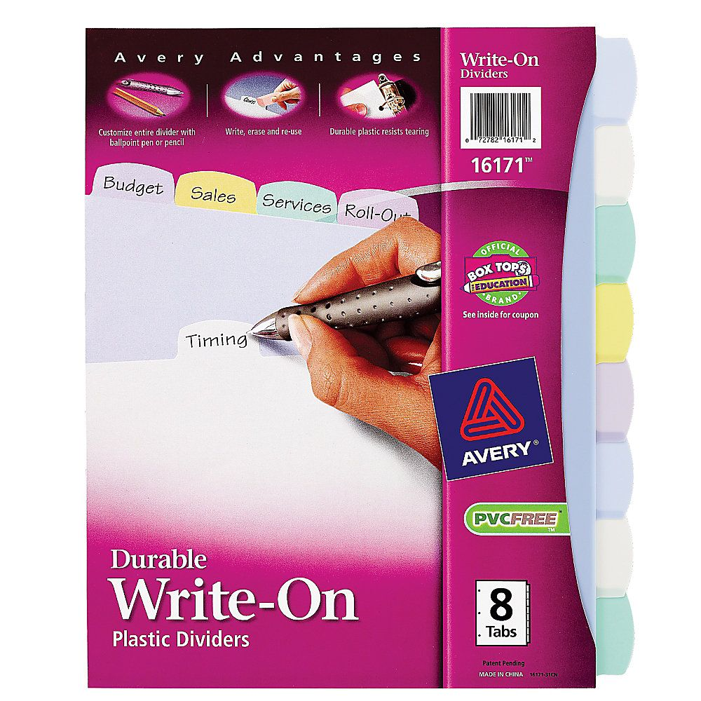 Avery durable writeon plastic dividers with erasable