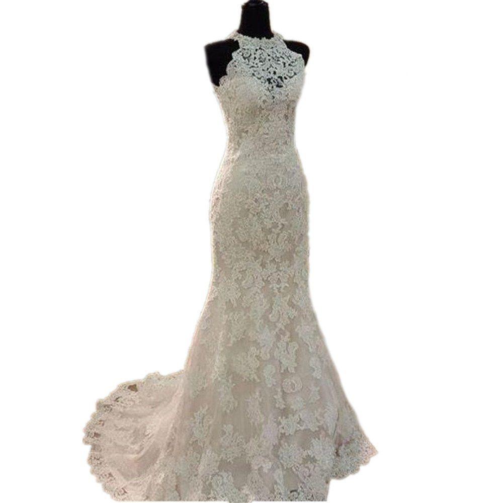 High neck wedding dresses  DreHouse Womenus Lace High Neck Mermaid Wedding Dresses Vintage