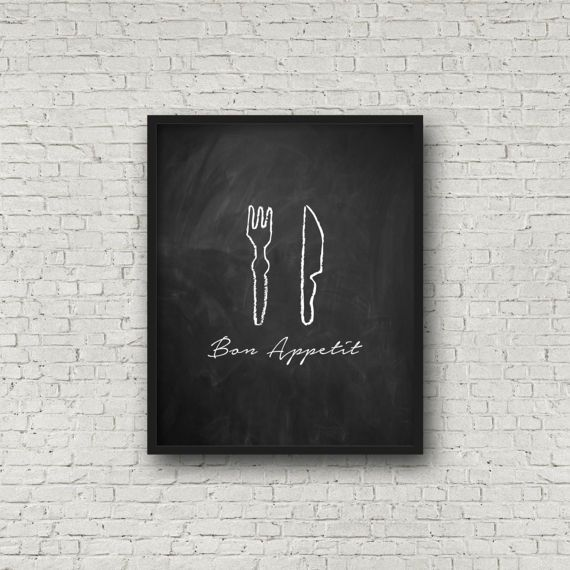 Bon Appetit Kitchen Wall Art Chalkboard Sign Kitchen Decor