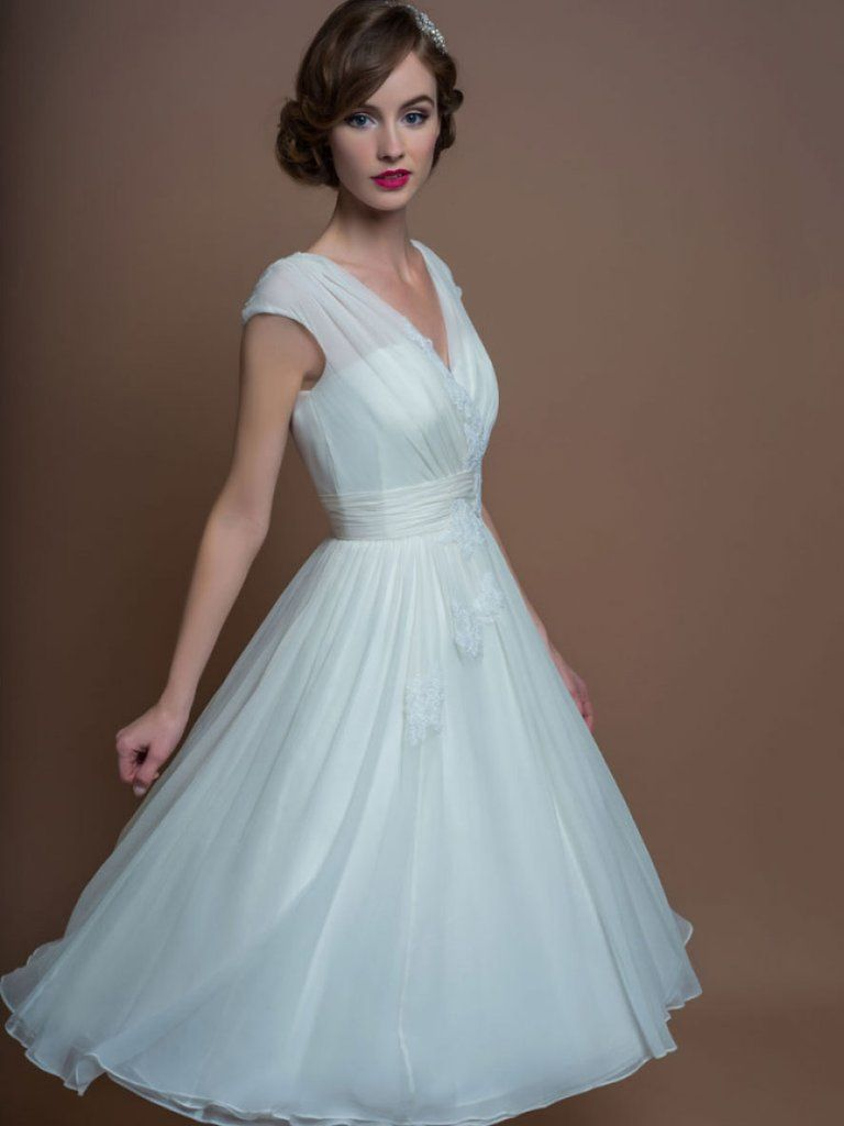 70b666302cf A-Line V-Neck Tea-Length Cap-Sleeve Appliqued Tulle Wedding Dress With  Ruching-MK 705299