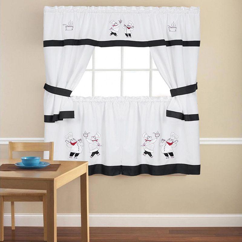 """embroidered chef black 5-piece kitchen curtain set (58""""x24"""") (100"""