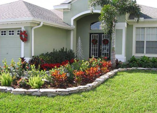 Front Yard Garden Ideas front yard landscape plans with red flowers and trees plus beautiful white house Front Yard Landscaping Ideas