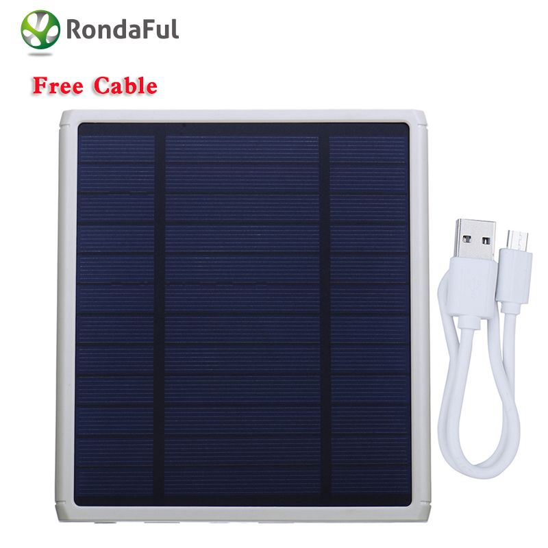 Rondaful Real 12000mah Solar Charger Waterproof Power Bank Bateria External Battery Dual Usb Powerbank Led For Xiao Solar Power Charger Solar Charger Powerbank