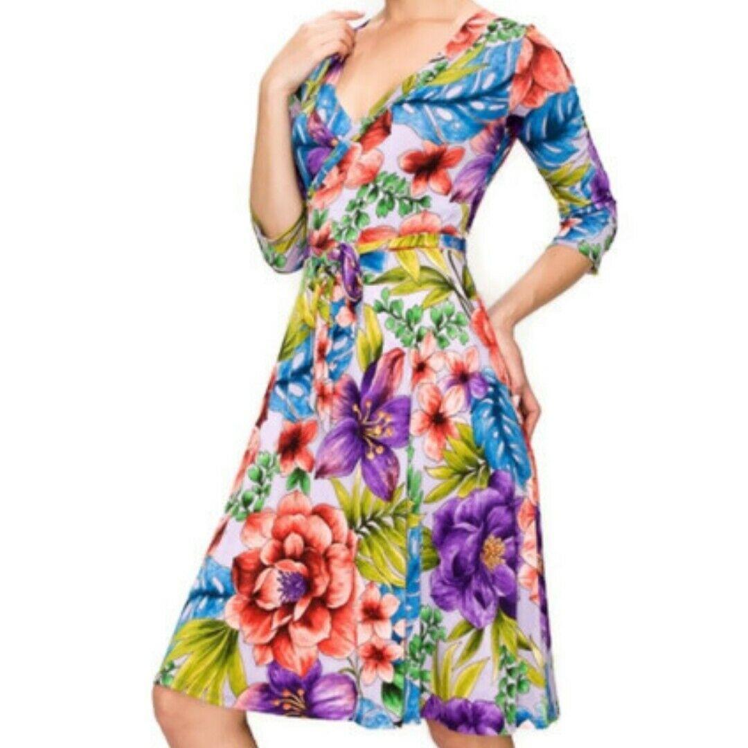 Janette Fashion Springtime Lavender Faux Wrap Knee Length 3 4 Sleeve Dress S M L Lavender Dress Ideas Of L Knee Length Dresses Dresses Dresses With Sleeves [ 1080 x 1080 Pixel ]
