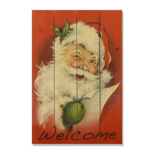 Welcome Santa 14x20 Wile E. Wood Indoor/ Outdoor Full Color Cedar ...