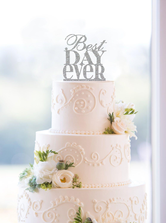 Glitter Best Day Ever Wedding Cake Topper Custom Color, Modern ...