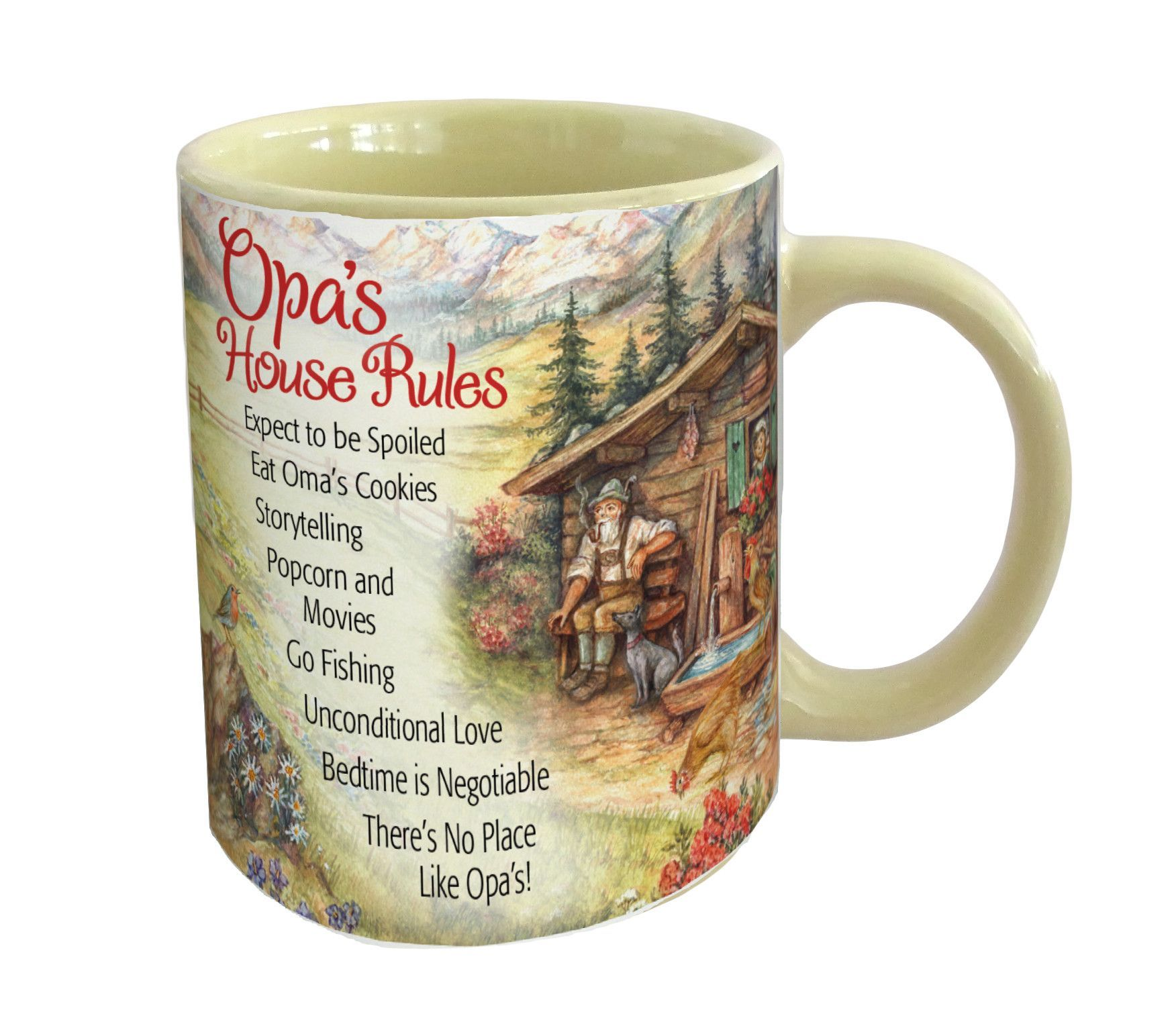 Opa House Rules Ceramic Coffee Mug This Unique Combines Por European Themes Into A Cup The Volume Of Is
