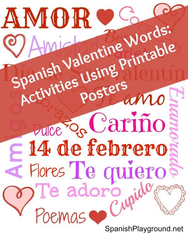 Spanish Valentine Words: Poster And Games