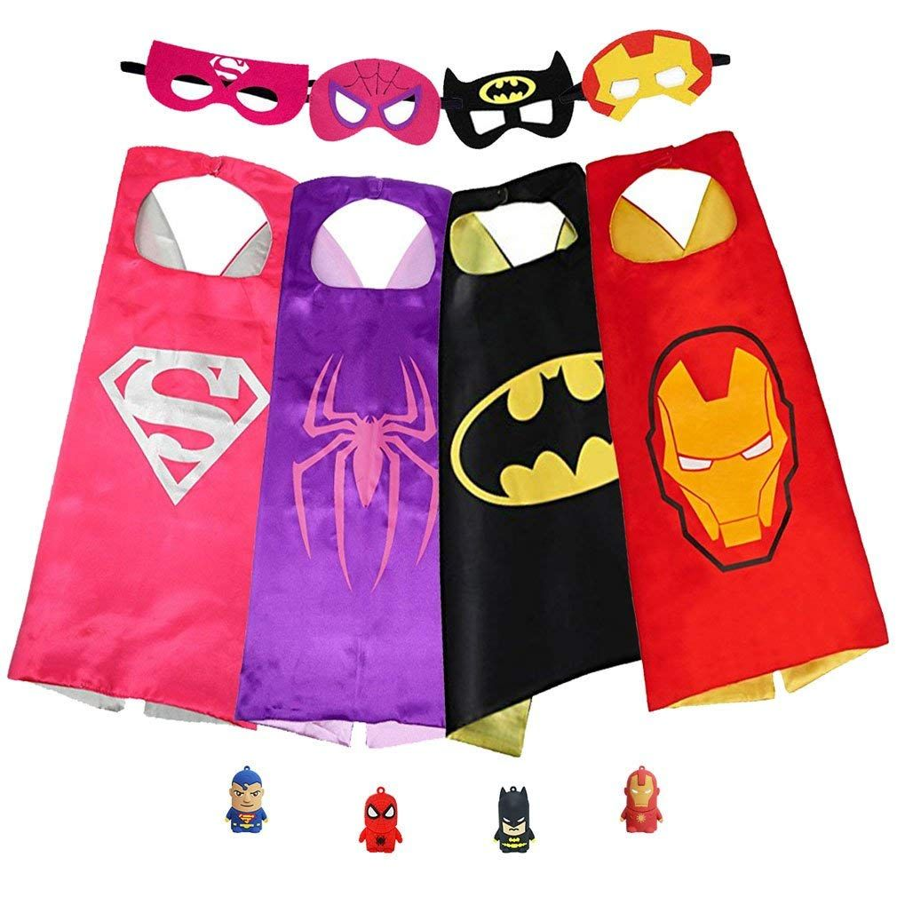 Superhero Capes with Masks Dress Up Costumes for Kids Boys Girls Party Favors