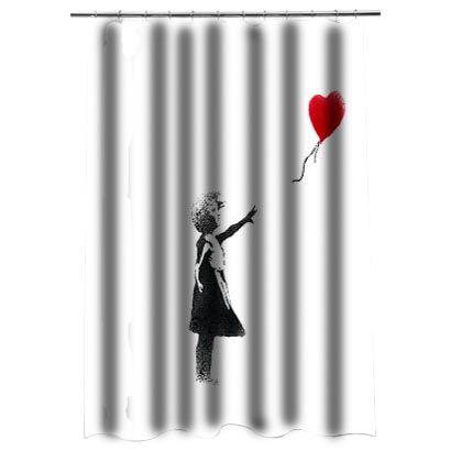 Girl Banksy Shower Curtain Curtains Personalized Shower Curtain