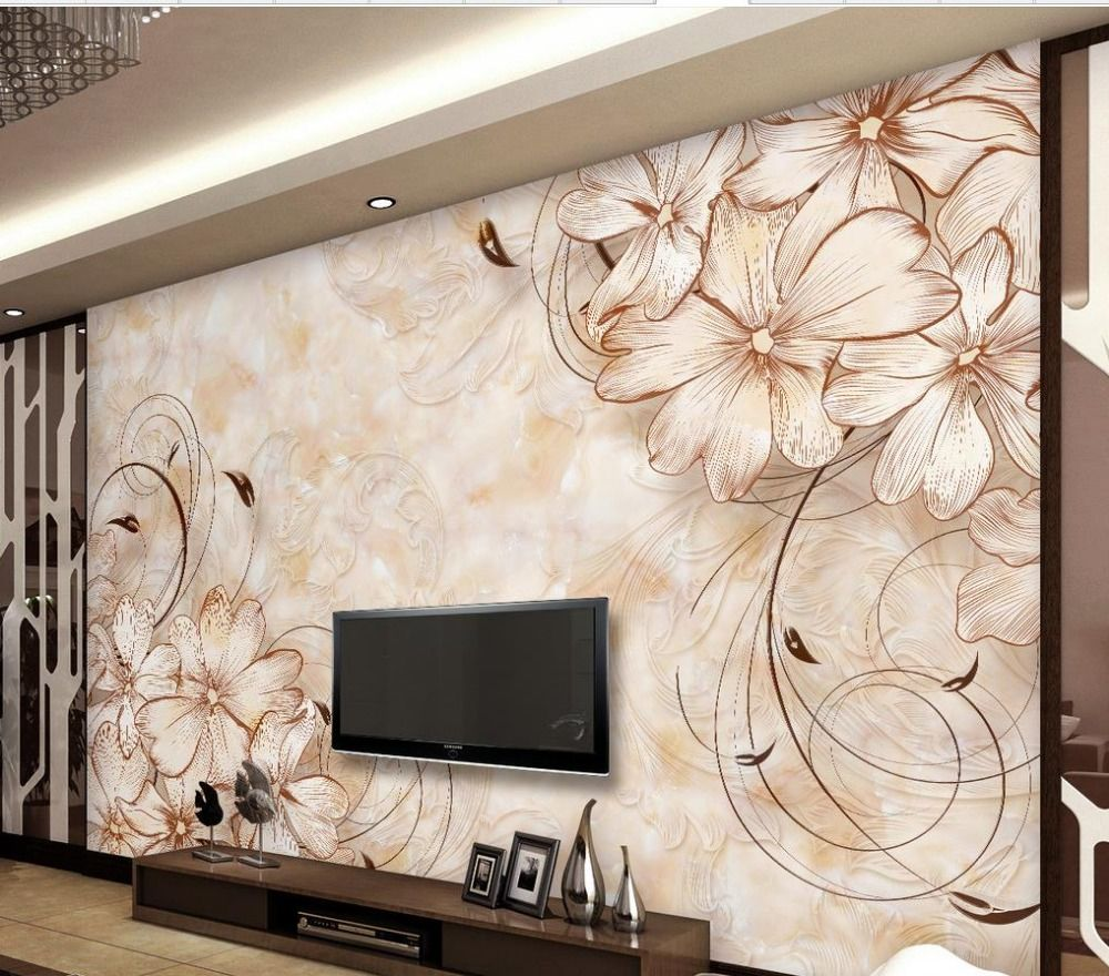 wallpaper 3d flower Marble Flower wallpaper home decor wallpaper ...
