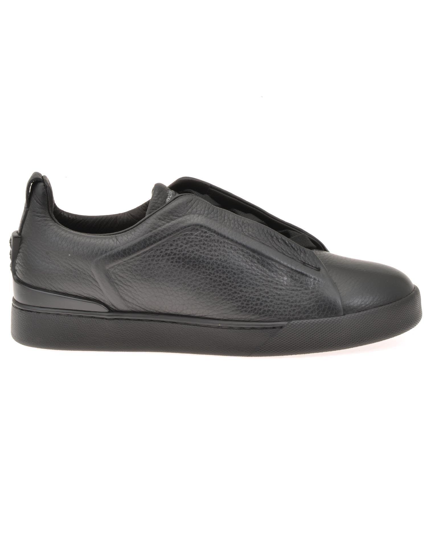 Daim, Cuir Et Mesh Techmerino Slip-on Chaussures De Sport - Marine Ermenegildo Zegna