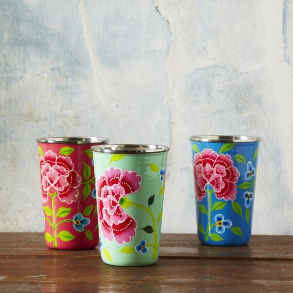 Floral Painted Beakers