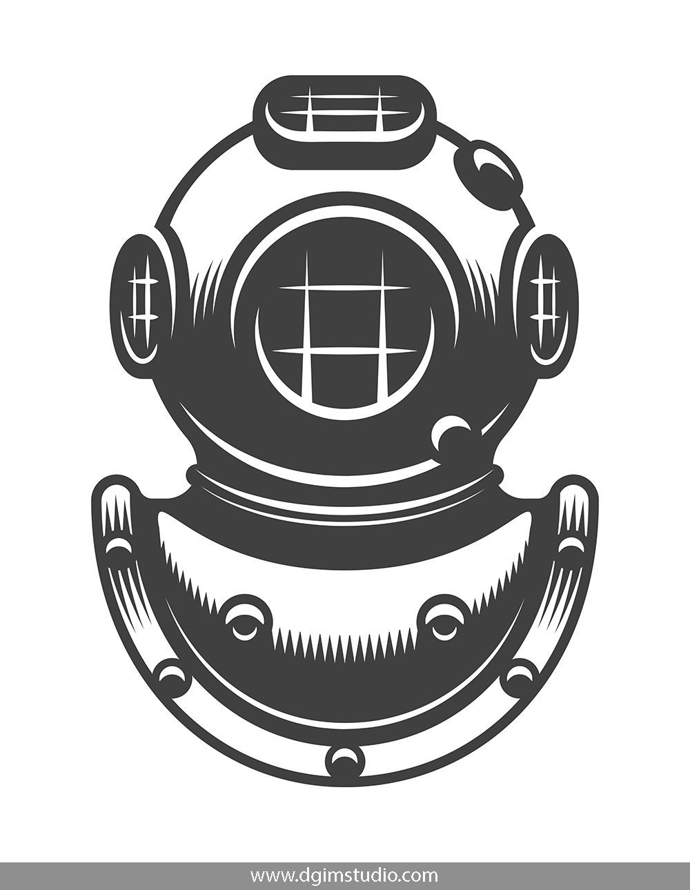 Monochrome Diving Helmet In Vintage Style Click To The Link To Find More Diving Elements Badges Emblems An Diving Helmet Vintage Nautical Tattoo Diving Logo