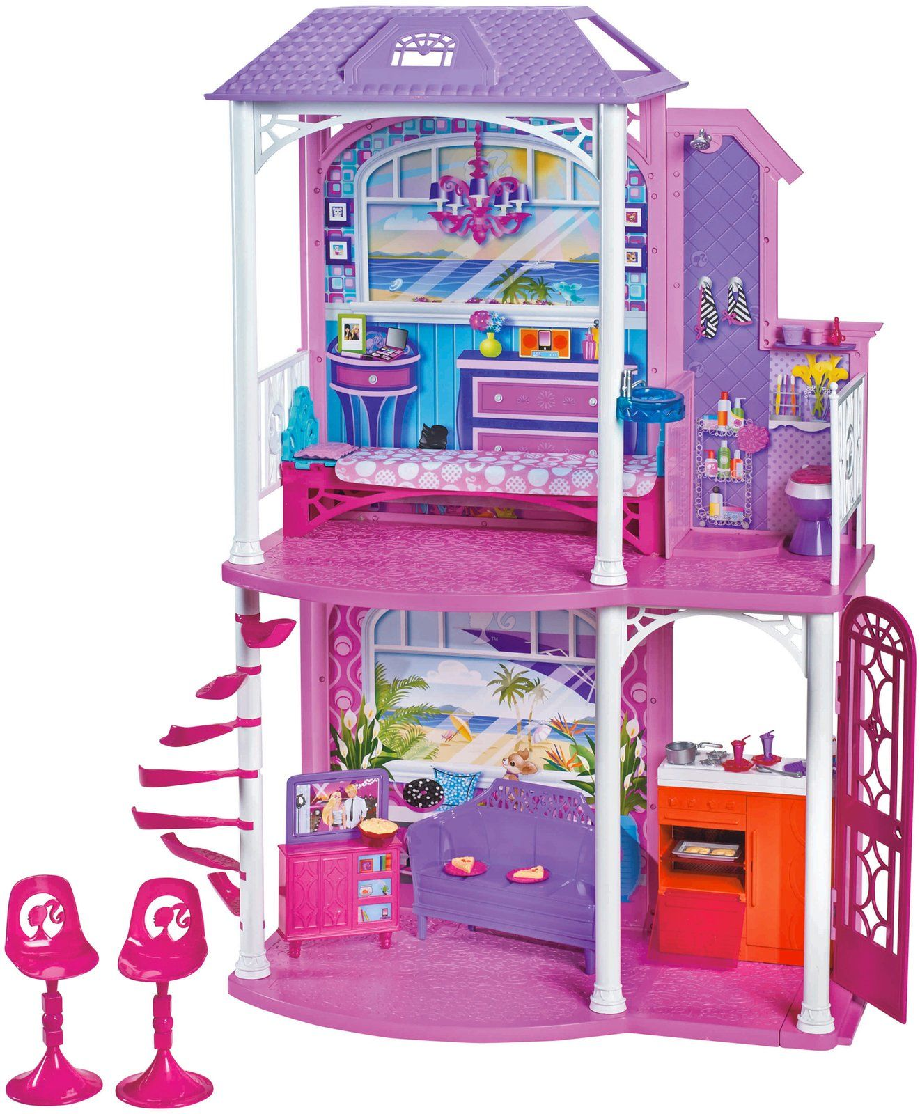 Barbie 2 Story Beach House With Two Stories And Four Areas Of Play In The Barbie 2 Story Beach House The Fun Need Barbie House Barbie Doll House Beach House