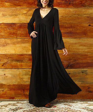 Loving this Black V Neck Bell Sleeve Maxi Dress on #zulily! #zulilyfinds