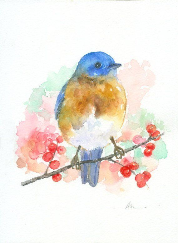 Bluebird Bird Art Original Watercolor Painting Nursery Blue Bird