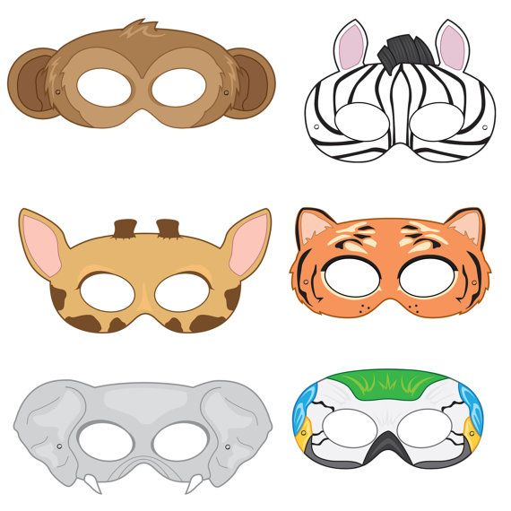 Jungle Animals Printable Masks Monkey Mask Zebra Tiger Elephant