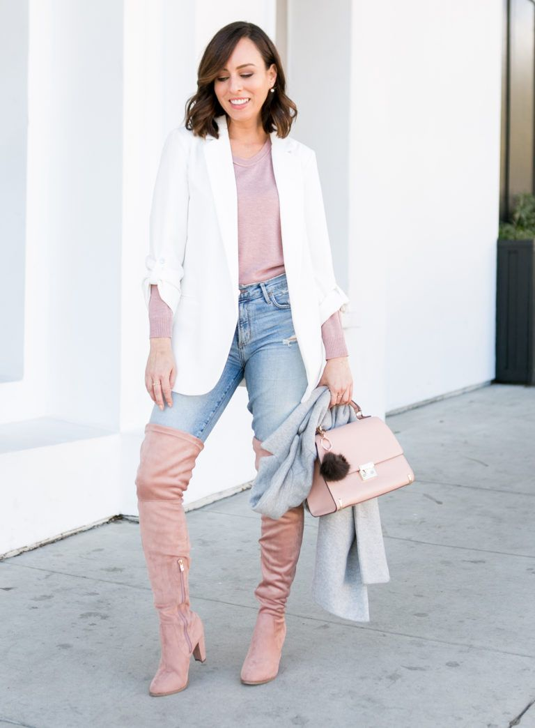 d5a8851d0c how to wear blush over the knee booties with skinny jeans and a white blazer