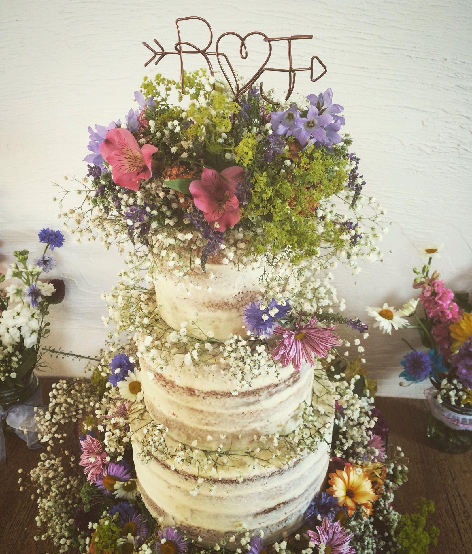 Wild Flowers For Weddings: Rustic Wedding Cake , Semi Naked Wedding Cake With Wild