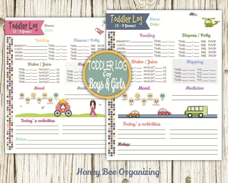 Toddler Log Printable Nanny Log Babysitter Report