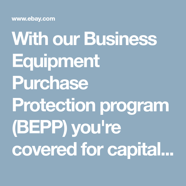 Business Equipment Purchase Protection Business Ebay Cover