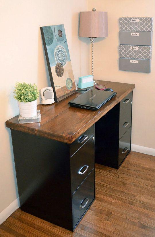 2 File Cabinets With Wood On Top Home Diy Creative Desks Desk Organization Diy