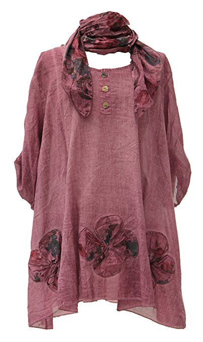 91db4ca90c3 Ladies Womens Lagenlook Quirky Layering Floral Print Scarf Tunic Top Shirt  Cotton One Size Plus Loose: Amazon.co.uk: Clothing