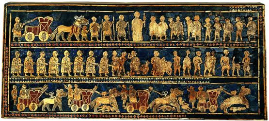 Panel del arpa de Ur; Museo de arqueología y antropología de la Universidad de Pensilvania