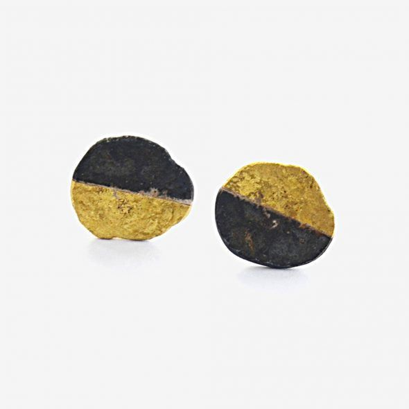Half 18kt Gold Oxidised Silver Disc Earrings | Shop | The New Craftsmen
