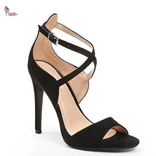 fa0d167aba60 Ideal Shoes - Escarpins effet daim à bout ouvert Emilie Noir 36 -  Chaussures ideal shoes
