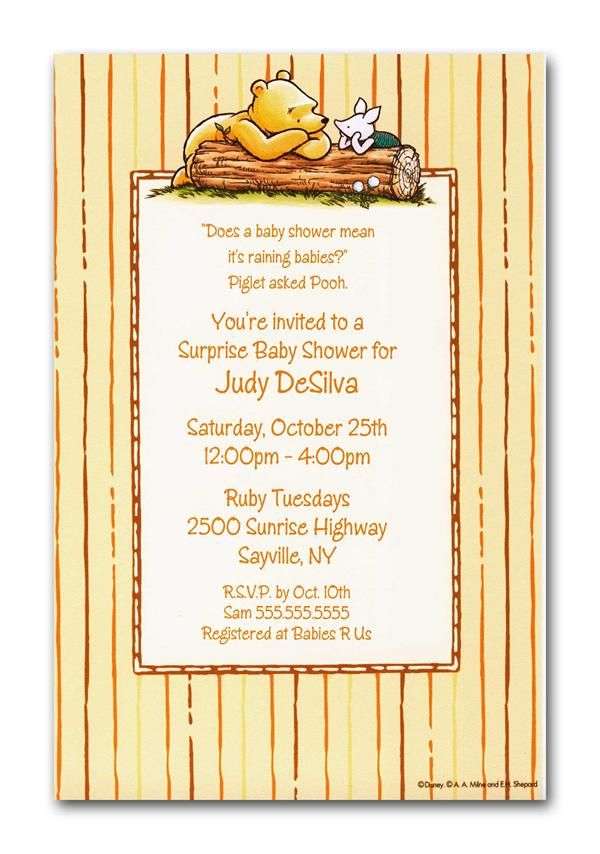 Winnie the Pooh and Piglet on Log invitations can be used for Baby ...