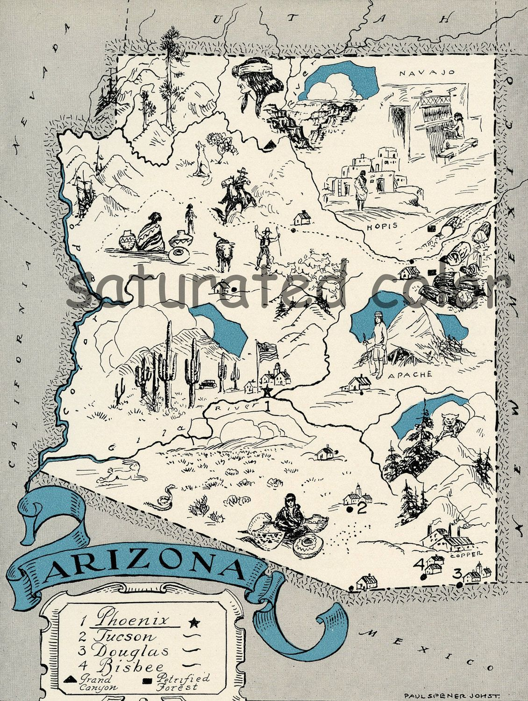 Arizona Map 1931 Original Vintage Picture Map Antique Etsy Arizona Map Arizona State Map Cartoon Map