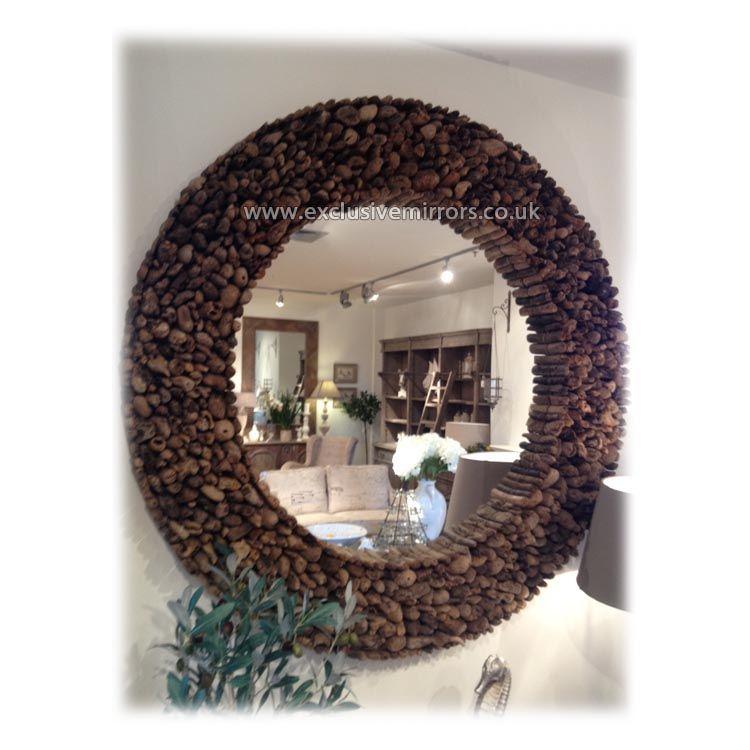 Beautiful Large Round Wood Mirror Part - 5: Large Round Wood Mirror 118cm