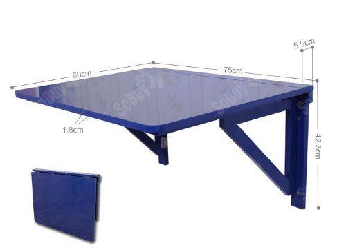 sobuy fwt05 b table murale rabattable pliable en bois 75 60cm table de cuisine rabat bleu. Black Bedroom Furniture Sets. Home Design Ideas