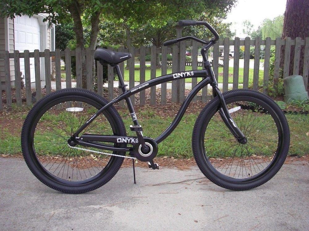 "29"" Men's Genesis Black Onex Beach Cruiser Bike 1 Speed"