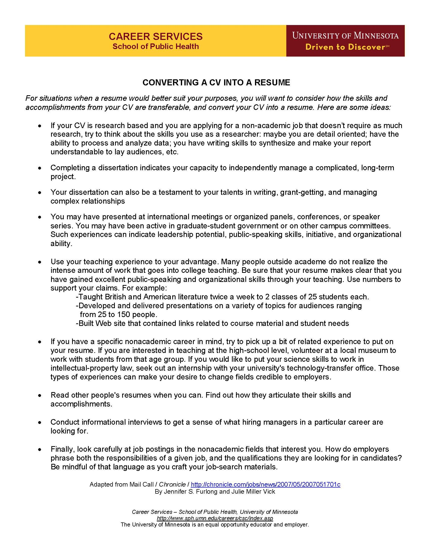 Converting a cv into a resume school health university