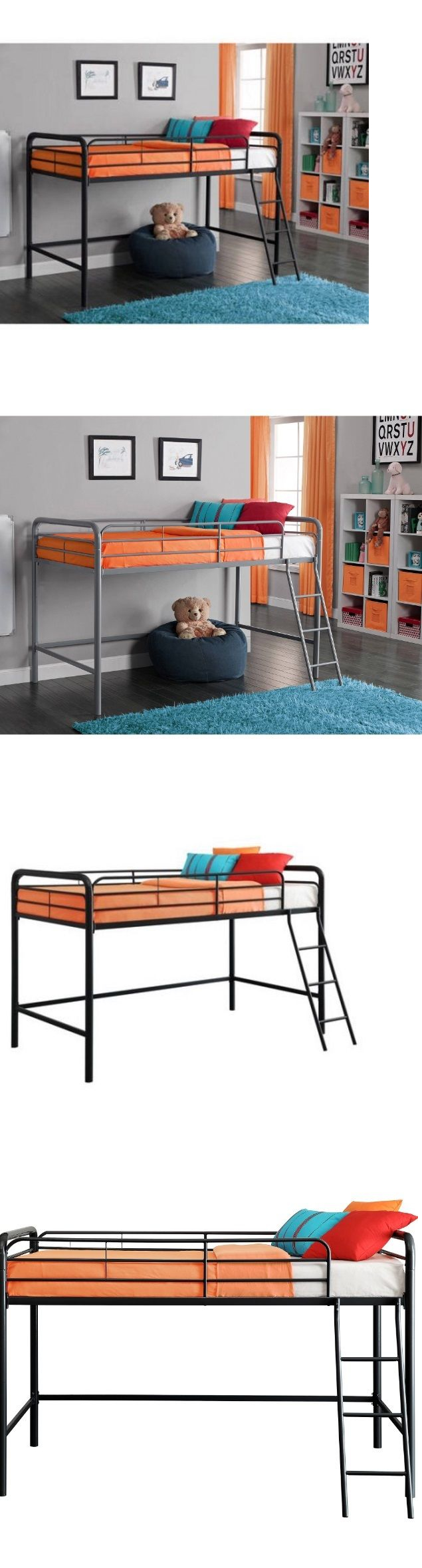 Loft bed with desk and chair  Kids Furniture Loft Twin Bunk Bed Metal Furniture Kids Bedroom