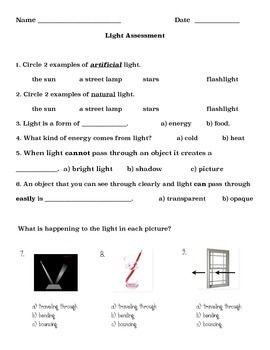Light Quiz Modified Grade 2 2nd Grade Quiz Grade