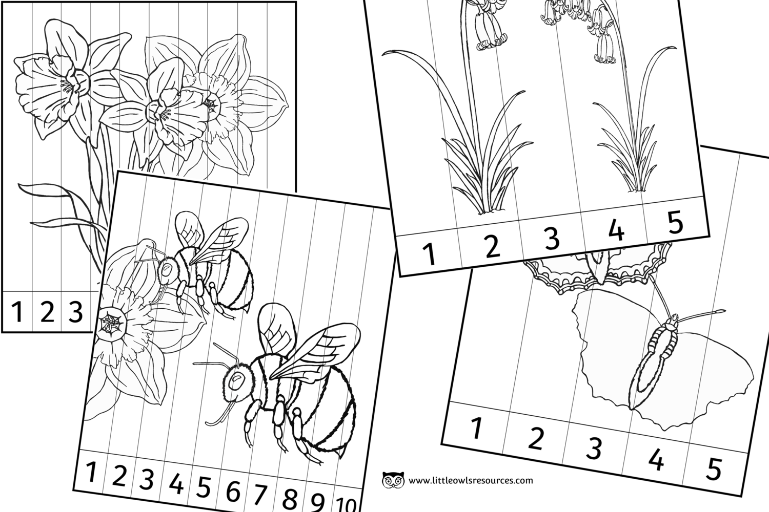 Free Spring Number Slice Colouring Printable Early Years