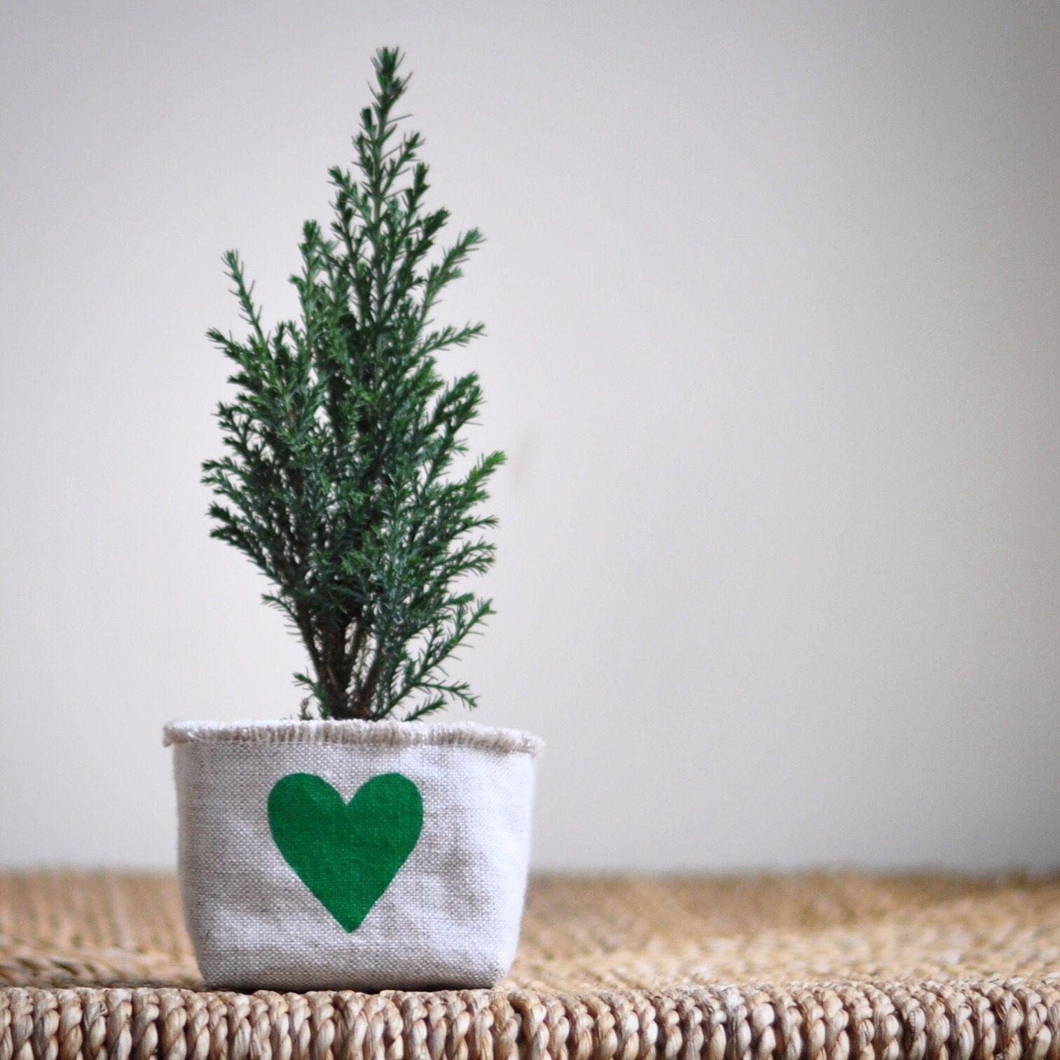 garden care logo #garden #gardencare Blockprint green heart linen mini planter.