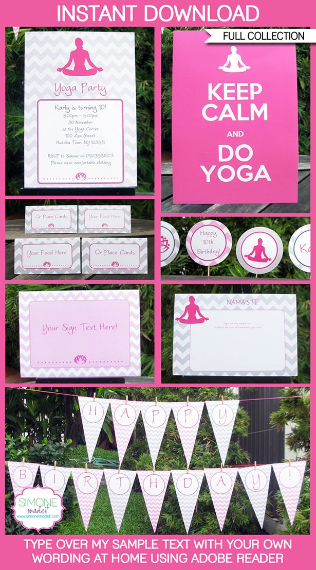 Yoga party printables invitations decorations yoga party party yoga party printables invitations decorations editable birthday party theme templates instant download stopboris Gallery