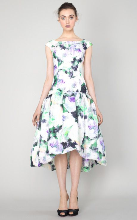 Floral Silk Basketweave Cocktail Dress by Marchesa for ...