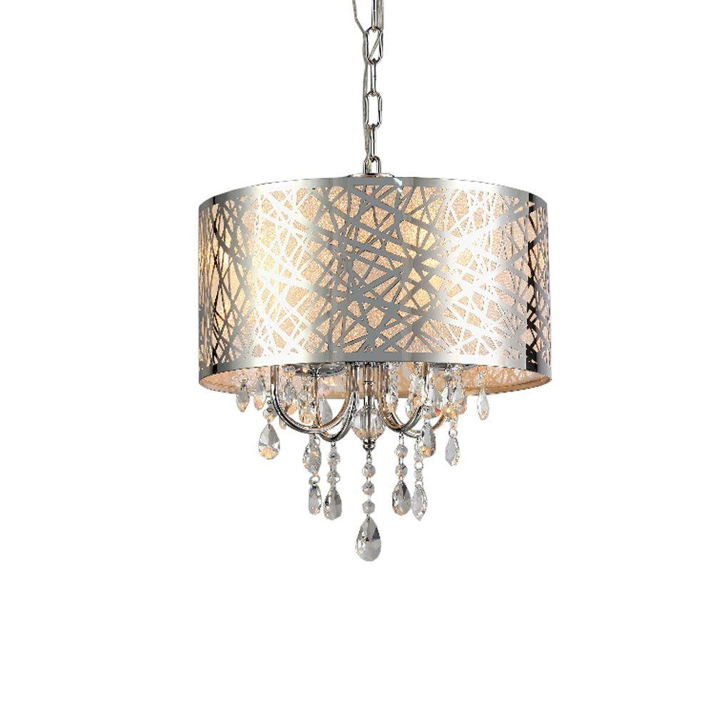 Abstract 4 Light Chrome Indoor Crystal Chandelier With Shade