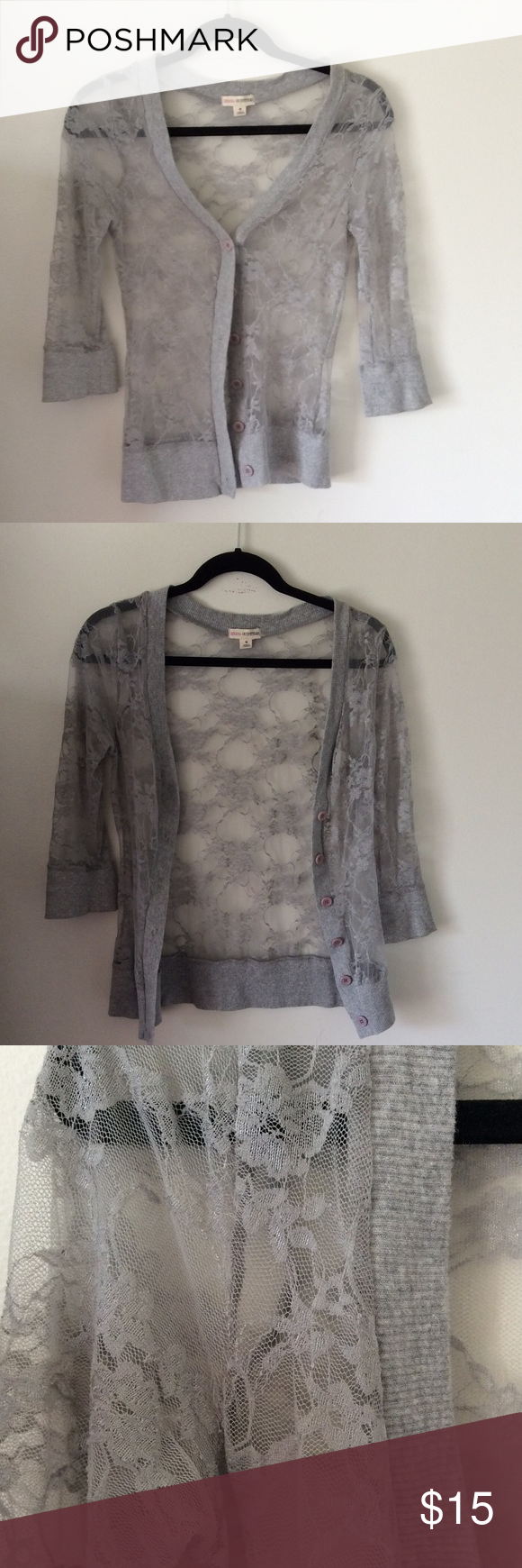 Sheer lace grey cardigan   Summer sweaters, Grey cardigan and ...
